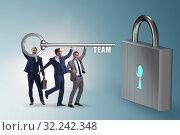 Купить «Concept of teamwork with businessmen unlocking lock», фото № 32242348, снято 6 декабря 2019 г. (c) Elnur / Фотобанк Лори