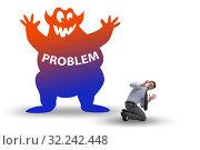 Купить «Businessman afraid of big problem», фото № 32242448, снято 14 октября 2019 г. (c) Elnur / Фотобанк Лори