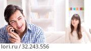 Купить «Couple cheating on each other at home», фото № 32243556, снято 11 декабря 2017 г. (c) Elnur / Фотобанк Лори