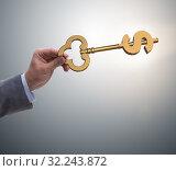 Купить «Businessman holding key to financial success and prosperity», фото № 32243872, снято 21 ноября 2019 г. (c) Elnur / Фотобанк Лори