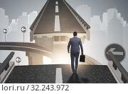 Купить «Businessman ready to overcome the broken bridge», фото № 32243972, снято 11 декабря 2019 г. (c) Elnur / Фотобанк Лори