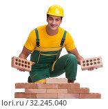 Купить «The handsome construction worker building brick wall», фото № 32245040, снято 5 ноября 2016 г. (c) Elnur / Фотобанк Лори