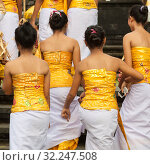 Купить «Bali, Indonesia - Feb 2, 2012 - Hari Raya Galungan and Umanis Galungan holiday fesival parade - the days to celebrate the victory of Goodness over evil, on February 2nd 2012 on Bali, Indonesia», фото № 32247508, снято 2 февраля 2012 г. (c) Matej Kastelic / Фотобанк Лори