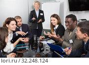 Купить «business woman presenting new business strategy», фото № 32248124, снято 12 февраля 2018 г. (c) Яков Филимонов / Фотобанк Лори