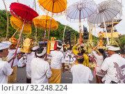 Купить «Bali, Indonesia - Feb 2, 2012 - Hari Raya Galungan and Umanis Galungan holiday fesival parade - the days to celebrate the victory of Goodness over evil, on February 2nd 2012 on Bali, Indonesia», фото № 32248224, снято 2 февраля 2012 г. (c) Matej Kastelic / Фотобанк Лори