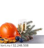 Купить «Construction protective clothes and Christmas», фото № 32248508, снято 11 ноября 2018 г. (c) Мельников Дмитрий / Фотобанк Лори