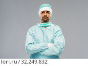 Купить «indian male doctor or surgeon in protective wear», фото № 32249832, снято 8 сентября 2019 г. (c) Syda Productions / Фотобанк Лори