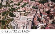 Купить «Aerial view on the city Guadalajara. Castile-La-Mancha. Spain», видеоролик № 32251624, снято 16 июня 2019 г. (c) Яков Филимонов / Фотобанк Лори