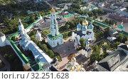 Купить «View from drones of churches in Trinity Lavra of St. Sergius Monastery, Sergiyev Posad», видеоролик № 32251628, снято 28 июня 2018 г. (c) Яков Филимонов / Фотобанк Лори