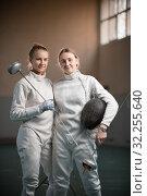 Купить «A portrait of two young women fencers», фото № 32255640, снято 5 октября 2019 г. (c) Константин Шишкин / Фотобанк Лори