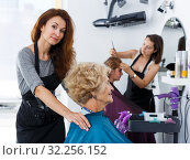 Купить «Stylist preparing customer for hair styling», фото № 32256152, снято 26 июня 2018 г. (c) Яков Филимонов / Фотобанк Лори