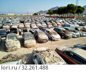 Купить «Aerial view new damaged cars due to flooding in dirt, spoiled can not be restored and used, gota fria September 2019, Orihuela, Torrevieja, Spain», фото № 32261488, снято 21 сентября 2019 г. (c) Alexander Tihonovs / Фотобанк Лори