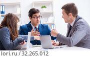 Купить «Business meeting with employees in the office», фото № 32265012, снято 13 декабря 2017 г. (c) Elnur / Фотобанк Лори