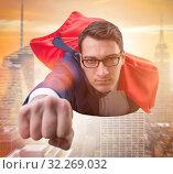 Купить «Flying super hero over the city», фото № 32269032, снято 6 декабря 2019 г. (c) Elnur / Фотобанк Лори