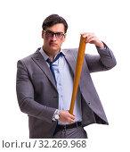 Купить «Businessman with baseball bat isolated on white», фото № 32269968, снято 8 февраля 2017 г. (c) Elnur / Фотобанк Лори