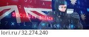 Купить «Composite image of burglar with balaclava hacking a laptop», фото № 32274240, снято 16 октября 2019 г. (c) Wavebreak Media / Фотобанк Лори