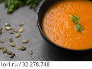 Купить «close up of vegetable pumpkin cream soup in bowl», фото № 32278748, снято 5 апреля 2018 г. (c) Syda Productions / Фотобанк Лори