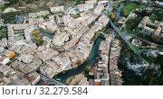 Купить «Aerial view of typical town of Basque Country. Estella-Lizarra. Spain», видеоролик № 32279584, снято 20 декабря 2018 г. (c) Яков Филимонов / Фотобанк Лори