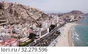 Купить «Picturesque panorama of coastal area of Spanish town of Alicante overlooking of Port», видеоролик № 32279596, снято 17 апреля 2019 г. (c) Яков Филимонов / Фотобанк Лори