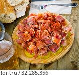 Купить «Close up of raw pig's ear with species at plate on table», фото № 32285356, снято 6 июня 2020 г. (c) Яков Филимонов / Фотобанк Лори
