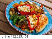Купить «Baked vegetables and roasted chicken fillet», фото № 32285404, снято 17 октября 2019 г. (c) Яков Филимонов / Фотобанк Лори