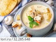 Saucepan with chicken cream soup with mushrooms. Стоковое фото, фотограф Марина Сапрунова / Фотобанк Лори