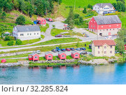 Купить «Small  houses at Olden, Norway.Olden is a village and urban area in the municipality of Stryn in Sogn og Fjordane county, Norway.», фото № 32285824, снято 26 мая 2020 г. (c) Николай Коржов / Фотобанк Лори