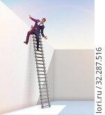 Купить «Businessman climbing a ladder to escape from problems», фото № 32287516, снято 11 декабря 2019 г. (c) Elnur / Фотобанк Лори