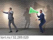 Купить «Businessman shouting through large loudspeaker», фото № 32289020, снято 14 декабря 2019 г. (c) Elnur / Фотобанк Лори