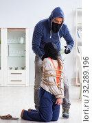 Купить «Armed man assaulting young woman at home», фото № 32289196, снято 15 декабря 2017 г. (c) Elnur / Фотобанк Лори
