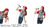 Pretty girl sings karaoke isolated on white. Стоковое фото, фотограф Elnur / Фотобанк Лори