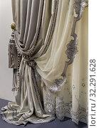 Фрагмент роскошных бархатных штор серого цвета. Стоковое фото, фотограф Светлана Васильева / Фотобанк Лори