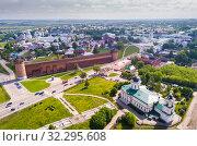 Купить «View from drone of Kolomna with Kremlin», фото № 32295608, снято 13 мая 2019 г. (c) Яков Филимонов / Фотобанк Лори