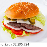 Купить «Double cheeseburger with beef, tomato, cheese, cucumber and lettuce», фото № 32295724, снято 18 октября 2019 г. (c) Яков Филимонов / Фотобанк Лори