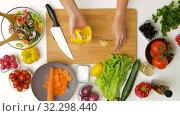 Купить «woman cutting pepper in half and removing seeds», видеоролик № 32298440, снято 10 октября 2019 г. (c) Syda Productions / Фотобанк Лори