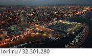 Купить «View from drones of coast in Barcelona and center with building», видеоролик № 32301280, снято 25 декабря 2018 г. (c) Яков Филимонов / Фотобанк Лори