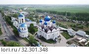 Купить «Aerial view of Bogolyubsky monastery at city vladimir. Russia», видеоролик № 32301348, снято 11 мая 2019 г. (c) Яков Филимонов / Фотобанк Лори