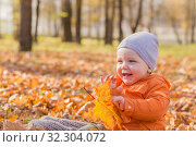 Купить «little baby in sunny autumn park», фото № 32304072, снято 18 октября 2019 г. (c) Майя Крученкова / Фотобанк Лори