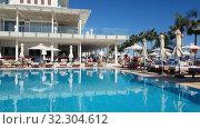 Protaras, Cyprus - Oct 12. 2019. Pool in Constantinos the Great Beach Hotel. Редакционное видео, видеограф Володина Ольга / Фотобанк Лори