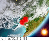 Купить «Gabon from orbit of planet Earth in sunrise with highly detailed surface textures and clouds. 3D illustration. Elements of this image furnished by NASA.», фото № 32313188, снято 29 марта 2020 г. (c) easy Fotostock / Фотобанк Лори
