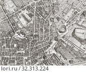 Купить «Map of the centre of Rome, Italy, after a print by Giovanni Battista Falda dated 1676.», фото № 32313224, снято 7 января 2019 г. (c) age Fotostock / Фотобанк Лори