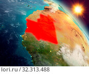 Купить «Sunrise above Mauritania highlighted in red on model of planet Earth in space. 3D illustration. Elements of this image furnished by NASA.», фото № 32313488, снято 29 марта 2020 г. (c) easy Fotostock / Фотобанк Лори