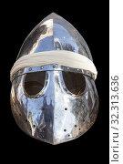 Pointed helmet, used by moorish armies during Reconquista period, 11-13th Century. Isolated. Стоковое фото, фотограф Juan García Aunión / age Fotostock / Фотобанк Лори