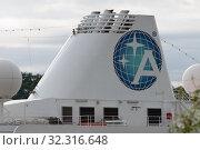 Купить «Upper deck of Passenger Expedition Cruise Liner Azamara Quest with pipe and company logo Azamara Club Cruises», фото № 32316648, снято 15 августа 2019 г. (c) А. А. Пирагис / Фотобанк Лори