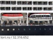 Купить «Deck of luxury Expedition Passenger Cruise Liner Azamara Quest (Azamara Club Cruises) with lifeboats aboard ship», фото № 32316652, снято 15 августа 2019 г. (c) А. А. Пирагис / Фотобанк Лори