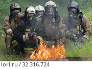 Купить «Firefighters of Fire Department of Federal Fire Service in Kamchatka during fire extinguishing, training to overcome fire zone of psychological training for firefighters», фото № 32316724, снято 7 августа 2019 г. (c) А. А. Пирагис / Фотобанк Лори