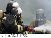 Купить «Firefighters of Fire Department of Federal Fire Service in Kamchatka Territory during fire extinguishing, training to overcome fire zone of psychological training for firefighters», фото № 32316732, снято 7 августа 2019 г. (c) А. А. Пирагис / Фотобанк Лори