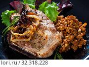 Купить «Close-up of roasted pork chop», фото № 32318228, снято 3 апреля 2020 г. (c) Яков Филимонов / Фотобанк Лори