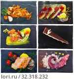 Купить «Set of dishes on square plates», фото № 32318232, снято 23 мая 2020 г. (c) Яков Филимонов / Фотобанк Лори