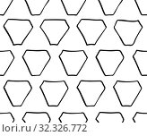 Купить «Abstract seamless geometric pattern with triangular elements. Simple black and white linear mosaic texture. Vector», иллюстрация № 32326772 (c) Dmitry Domashenko / Фотобанк Лори